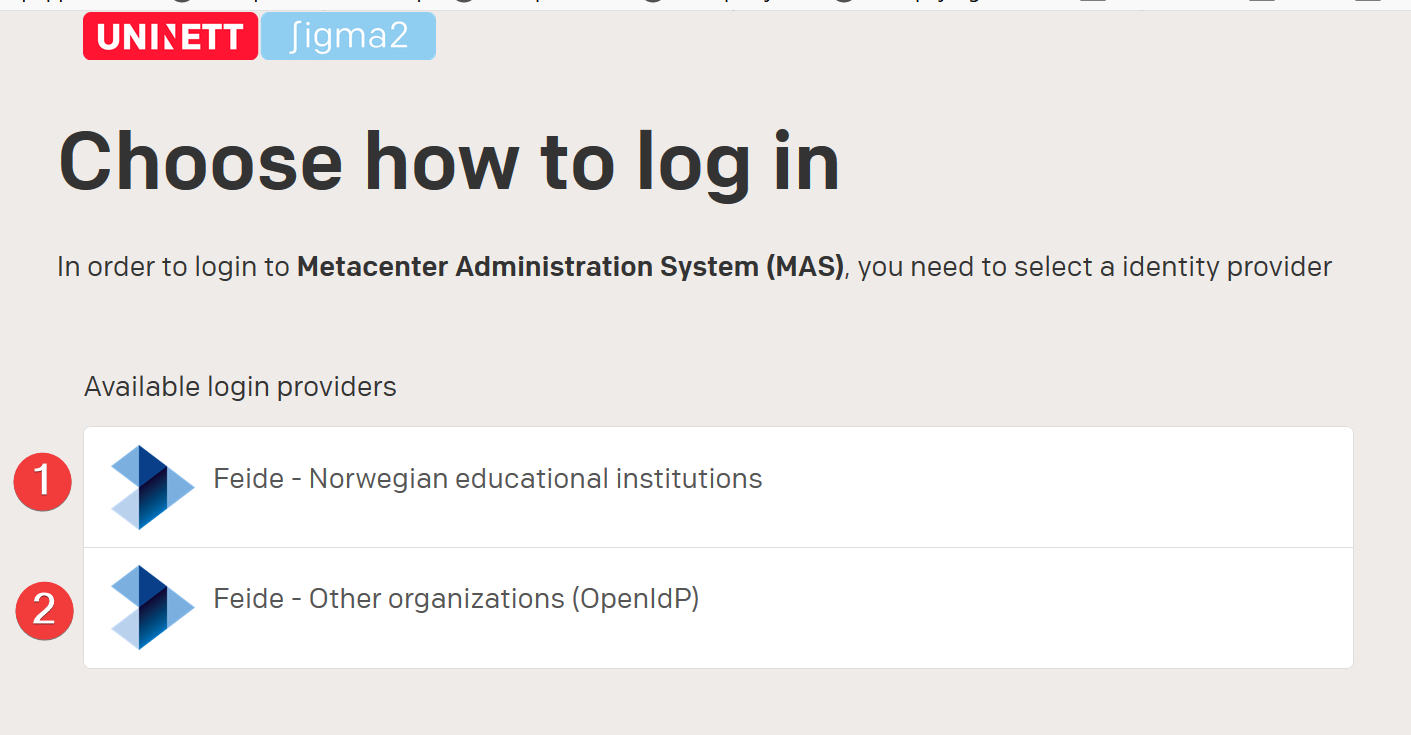 MAS login options