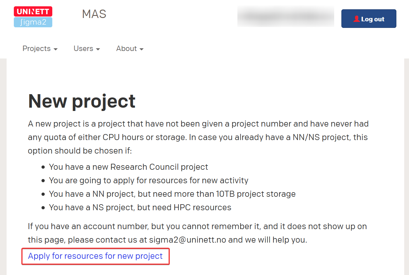 MAS apply for new project